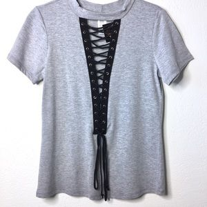 🌟 October Love Grey Sexy Lace Up Front Tee